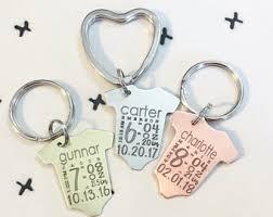baby keychain birth stats keychain etsy