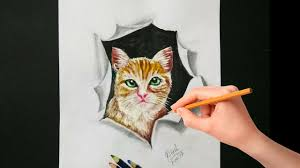 cool 3d illusion art drawing 3d cat on paper 3d drawing tutorial for kids