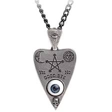 mystical ouija board planchette pewter necklace occult jewelry