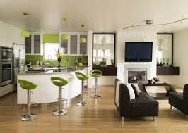Modern Laminate Flooring Ideas White Curved Bar Table In Open Kitchen Of Apartment Design Ideas