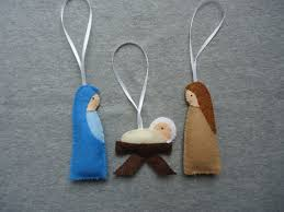 nativity felt ornaments with joseph and baby jesus