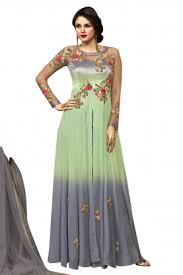 stylee lifestyle pista green georgette embroidered semi stitched