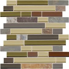 slate and glass tile backsplash daltile slate radiance cactus 11 3 4 in x 12 1 2 in x 8 mm glass