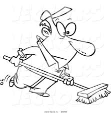 vector cartoon man push broom coloring outline
