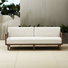 White Modern Outdoor Furniture by Tropez Outdoor Wood Sofa Cb2