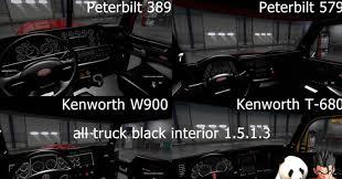 all kenworth trucks new pack all truck black interior mod american truck simulator