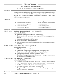 Resume Format Pdf For Experienced by Car Mechanic Resume Auto Skills Automotive Technician Pdf