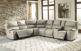 power reclining sectional with console by benchcraft wolf and