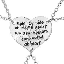 necklaces for side by side or apart we are connected at heart bff