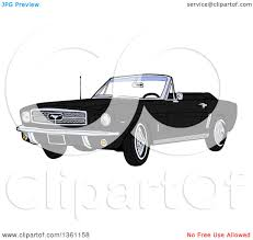64 Mustang Black Clipart Of A Cartoon Black Convertible 64 Ford Mustang Muscle Car