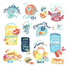 holiday cocktails clipart set of hand drawn watercolor labels and stickers of fresh fruit