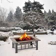 Winter Patio Furniture Covers - ikayaa metal garden backyard fire pit patio rectangular firepit