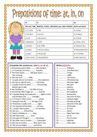 90 free esl prepositions of time worksheets