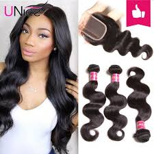 body wave hair with bangs unice peruvian body wave lace closure with 4pcs hair bundles unice