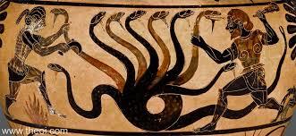Greek Black Figure Vase Painting Hydra U0026 Heracles Ancient Greek Vase Painting