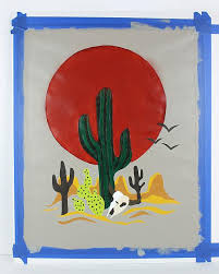sunset cactus paint by number project by decoart