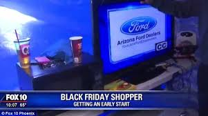 who has the best deals on tv black friday arizona black friday shopper jarvis johnson sets up camp with a tv