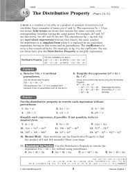 algebra 1 distributive property worksheet the best and most