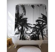 black and white palm trees shower curtain tropical by macrografiks