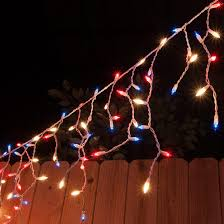 red white icicle lights 150 icicle lights red white and blue white wire yard envy