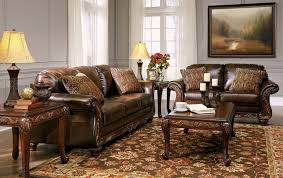 Wood And Leather Sofa Brown Leather Traditional Wood Sofa U0026 Loveseat Living Room Set