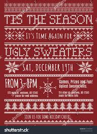 ugly christmas sweater party invitation template stock vector