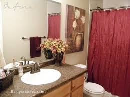 inspiring modern red bathroom decor with gloss acrylic floating