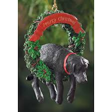 black lab puppy in wreath ornament furrypartners