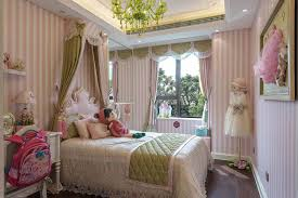 Princess Room Decor Bedroom Striped Pink And White Wall Color Glass Chandeliers