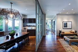 sliding room divider basement contemporary with none