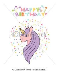 clipart vector of unicorn birthday card happy birthday card with