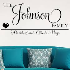 personalised family names wall sticker decals