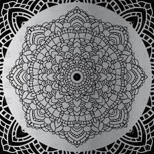 silver mandala ornament on black background vector clipart image