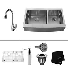 kitchen faucet at home depot kraus all in one farmhouse apron front stainless steel 33 in