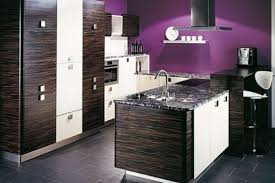 wooden kitchen design with purple wall u2014 smith design selecting
