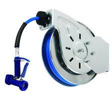 water hose reel wall mount t u0026s b 7112 05 15 u0027 open stainless steel hose reel with front