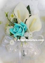 calla corsage pool blue white calla wedding flowers or special events corsage