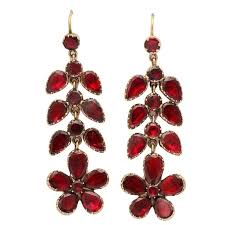 Garnet Chandelier Earrings Georgian Garnet Chandelier Earrings Signify Affection For Sale At