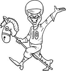 working sheet of a horse jockey for kids coloring point