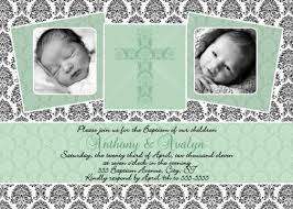 baptism thank you wording mint green damask unisex baptism invitation or thank you card