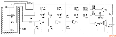 component circuit diagram of water level indicator control using