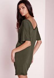wide v neck t shirt dress khaki missguided