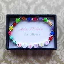 bracelet name beads images Buy rainbow bead girls name bracelet from just 10 uneak boutique png