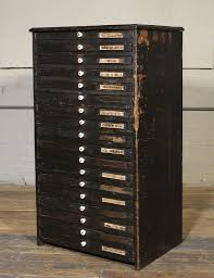 wooden flat file storage cabinet vintage industrial multi drawer