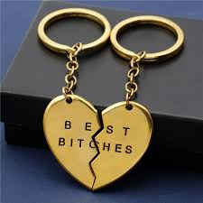 best key rings images 2016 wholesale broken heart keyrings silver gold best bitches jpg