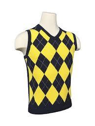 women u0027s argyle golf sweater vest navy yellow white overstitch