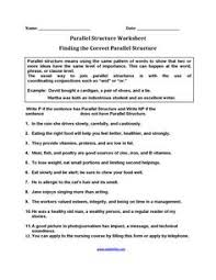 identifying parallel structure worksheets englishlinx com board