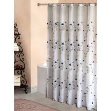 blue embroidered flowers on sheer white fabric shower curtain 70