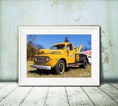 Vintage Ford Truck Art - classic ford texaco tow truck oil paint art photo print