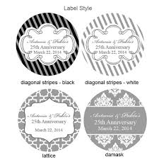 wedding favor labels silver wedding anniversary personalized labels 20 pcs